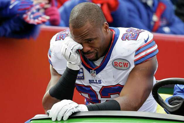 Buffalo Bills running back Fred Jackson (22) is carted off the field during the first half of an NFL football game against the Minnesota Vikings, Sunday, Oct. 19, 2014, in Orchard Park, N.Y.  (AP Photo/Bill Wippert) ORG XMIT: NYFF108 Photo: Bill Wippert / FR170745 AP