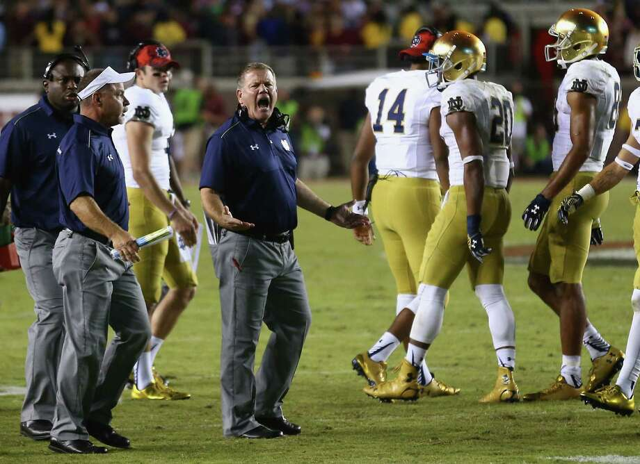 """Notre Dame coach Brian Kelly cries foul after a pass interference penalty cost the Irish the go-ahead touchdown in the final seconds Saturday against Florida State. Kelly still disagreed with the call after reviewing film Sunday, saying """"Florida State blew the coverage, and they got rewarded for it. So it's unfortunate."""" Photo: Streeter Lecka, Staff / 2014 Getty Images"""