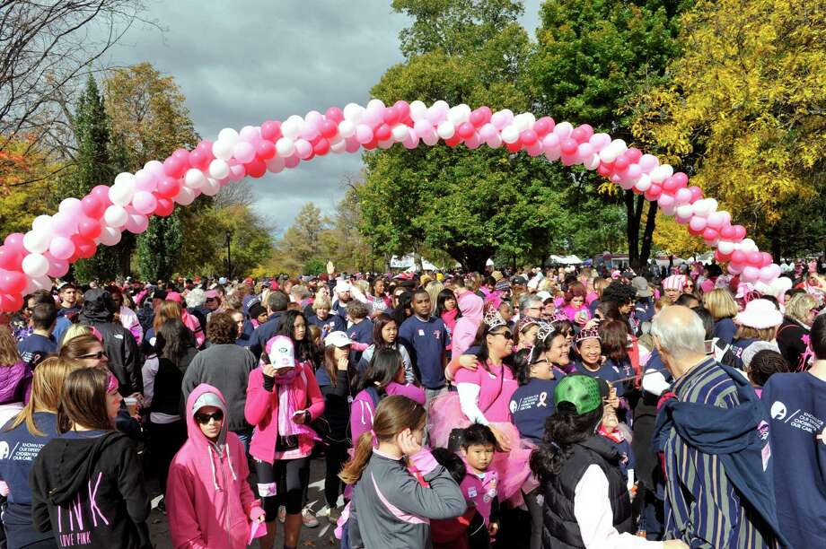 Walkers line up at the start line during the Making Strides Against Breast Cancer walk at Washington Park on Sunday, Oct. 19, 2014, in Albany, N.Y.   (Paul Buckowski / Times Union) Photo: Paul Buckowski / 00029076A