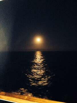A full moon on the Mediterranean coast.