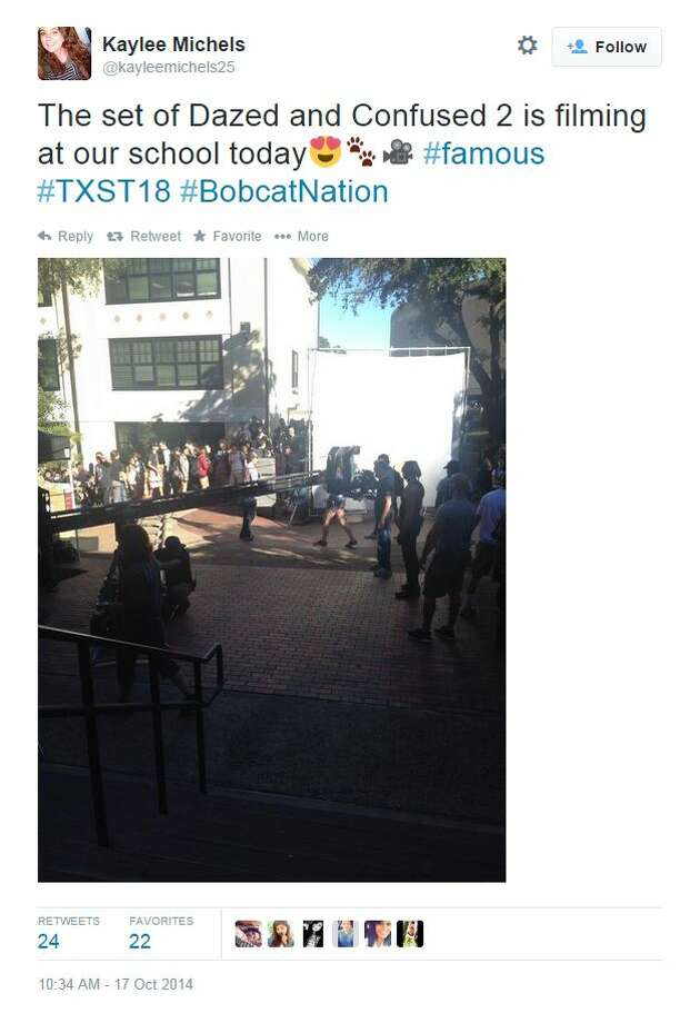 """@kayleemichels25 tweeted, """"The set of Dazed and Confused 2 is filming at our school today Photo: Fechter, Joshua I, Twitter"""