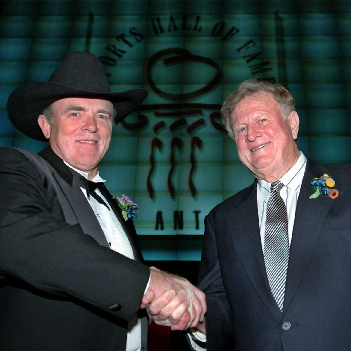 Two members of the 1998 San Antonio Sports Hall of Fame, Jerry Grote (left) and B.J.