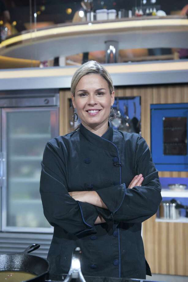 "Cat Cora on the set of ""Food Fighters"" Photo: NBC, Contributor / 2013 NBCUniversal Media, LLC"
