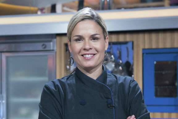 """Cat Cora on the set of """"Food Fighters"""""""