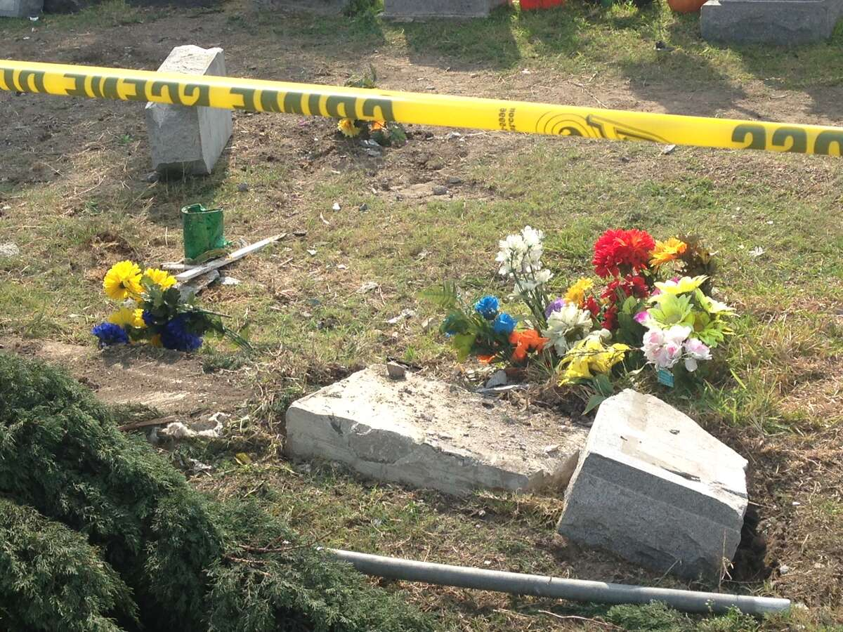 A car crashed into a the San Fernando Cemetery October 20, 2014, and took about more than 15 headstones.
