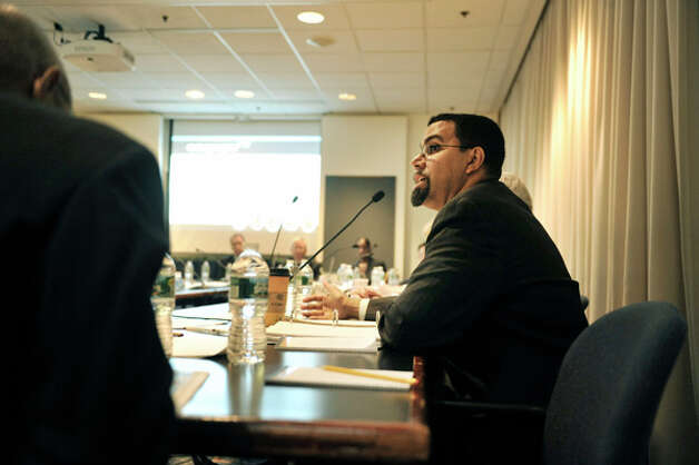 New York State Education Commissioner John King, Jr., addresses those gathered for a New York State Board of Regents meeting on Monday, Oct. 20, 2014, at the State Education building in Albany, N.Y.   (Paul Buckowski / Times Union) Photo: Paul Buckowski, Albany Times Union / 00029096A