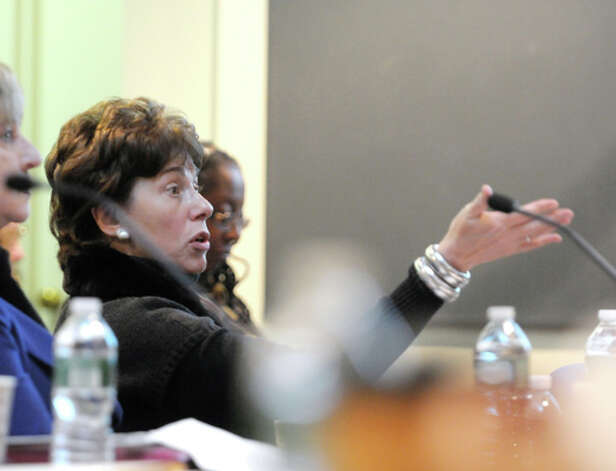 Merryl Tisch, chancellor, New York State Board of Regents, addresses those gathered for a board meeting on Monday, Oct. 20, 2014, at the State Education building in Albany, N.Y.   (Paul Buckowski / Times Union) Photo: Paul Buckowski, Albany Times Union / 00029096A