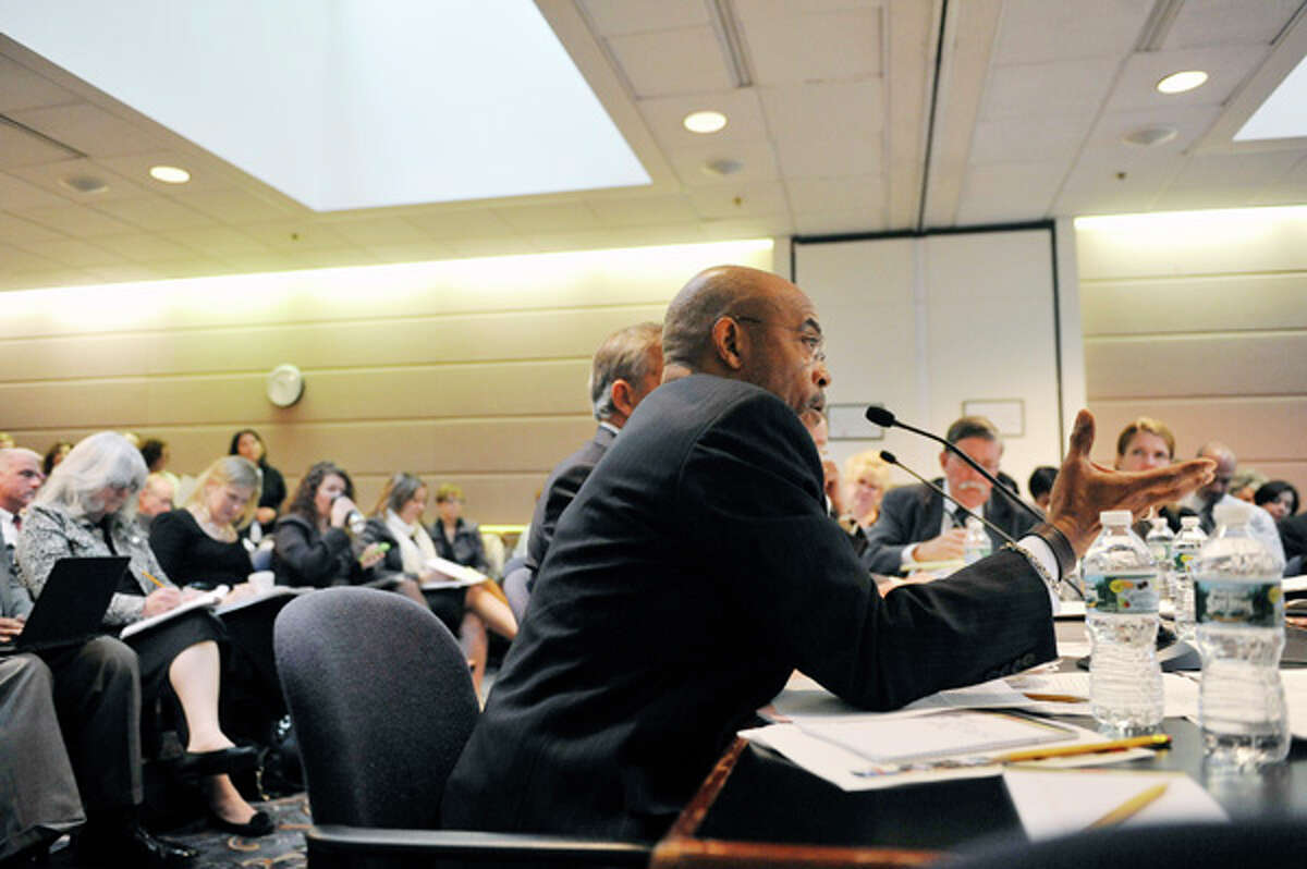 Lester Young, Jr., New York State Board of Regents member addresses those gathered for a board meeting on Monday, Oct. 20, 2014, at the State Education building in Albany, N.Y. (Paul Buckowski / Times Union)