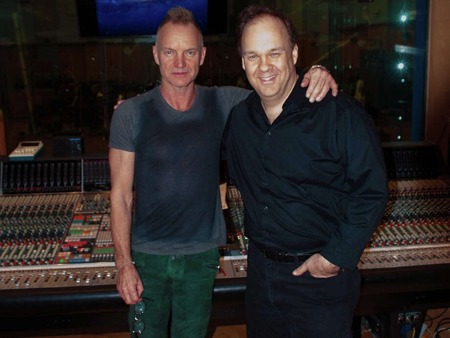 """""""Rob makes sense of my nonsense,""""  Sting quipped about Greenwich's Rob Mathes after a preview performance of """"The Last Ship"""" last week. Sting & Rob Mathes at Abbey Road Studios in London on January 26, 2013. Photo: Contributed Photo/David Dunn, Contributed Photo / Greenwich Time Contributed"""