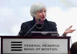 Federal Reserve Chairwoman Janet Yellen speaks at the Federal Reserve Bank in Boston.