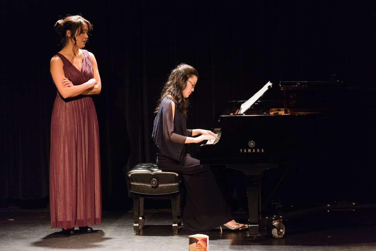 """Laura Yumi Snell, left, and pianist Eunbi Kim perform in """"Murakami Music,"""" which was inspired by Japanese novelist Haruki Murakami."""