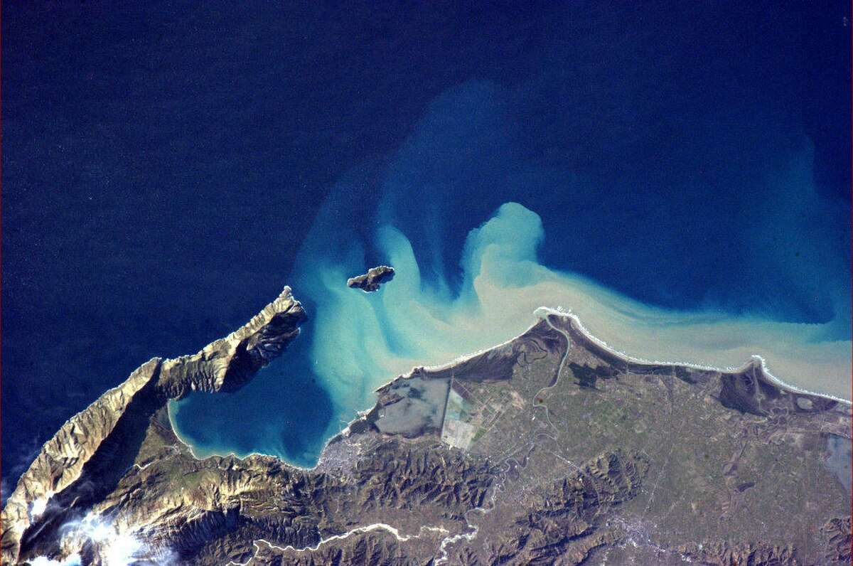 Hadfield says this photo is of Albania and the currents of the Adriatic Sea.