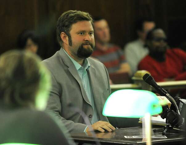 Jesse Calhoun speaks against the bill for red light cameras during the first public hearing on the mayors proposed budget for 2015 at Albany City Hall on Monday, Oct. 20, 2014 in Albany, N.Y. (Lori Van Buren / Times Union) Photo: Lori Van Buren / 10029014A