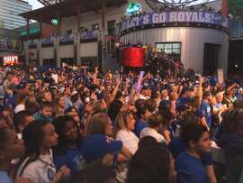 Fans gather for a World Series rally on Monday in KCMO.