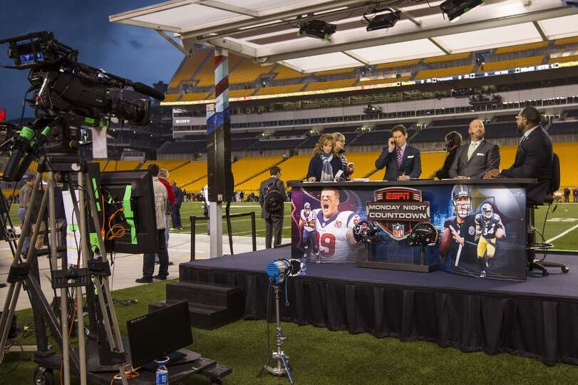 The Monday Night Football broadcast crew prepares for ...
