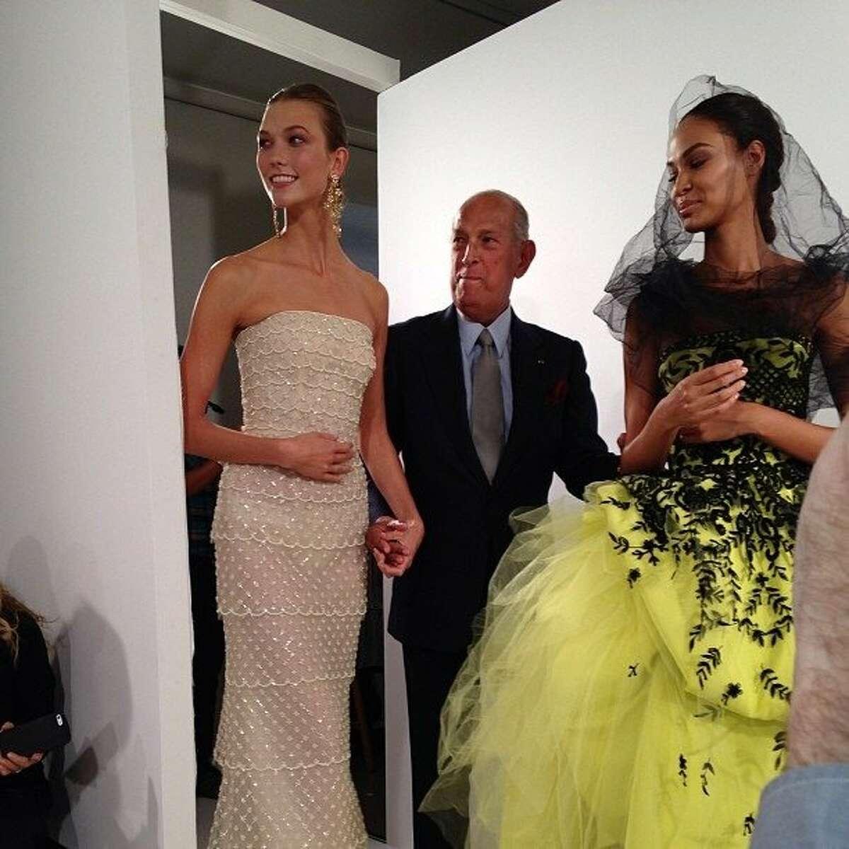 Oscar de la Renta during New York Fashion Week, Tuesday, Sept. 10, 2013.(AP Photo/Samantha Critchell)