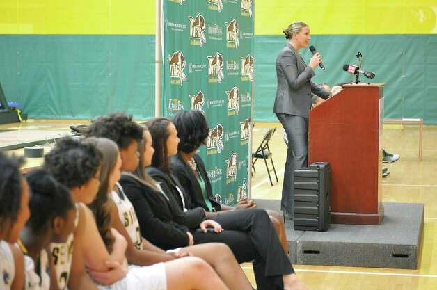 Head coach Ali Jaques addresses those gathered for  Siena women's basketball media day at the Alumni Recreation Center on Monday, Oct. 20, 2014, in Loudonville, N.Y.   (Paul Buckowski / Times Union) Photo: Paul Buckowski / 00029074A