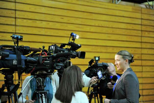 Head coach Ali Jaques, right, talks to members of the media during Siena women's basketball media day at the Alumni Recreation Center on Monday, Oct. 20, 2014, in Loudonville, N.Y.   (Paul Buckowski / Times Union) Photo: Paul Buckowski / 00029074A