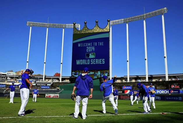 KANSAS CITY, MO - OCTOBER 20:  The Kansas City Royals practice during the 2014 World Series Media Day at Kauffman Stadium on October 20, 2014 in Kansas City, Missouri.  (Photo by Jamie Squire/Getty Images) ORG XMIT: 519498199 Photo: Jamie Squire / 2014 Getty Images