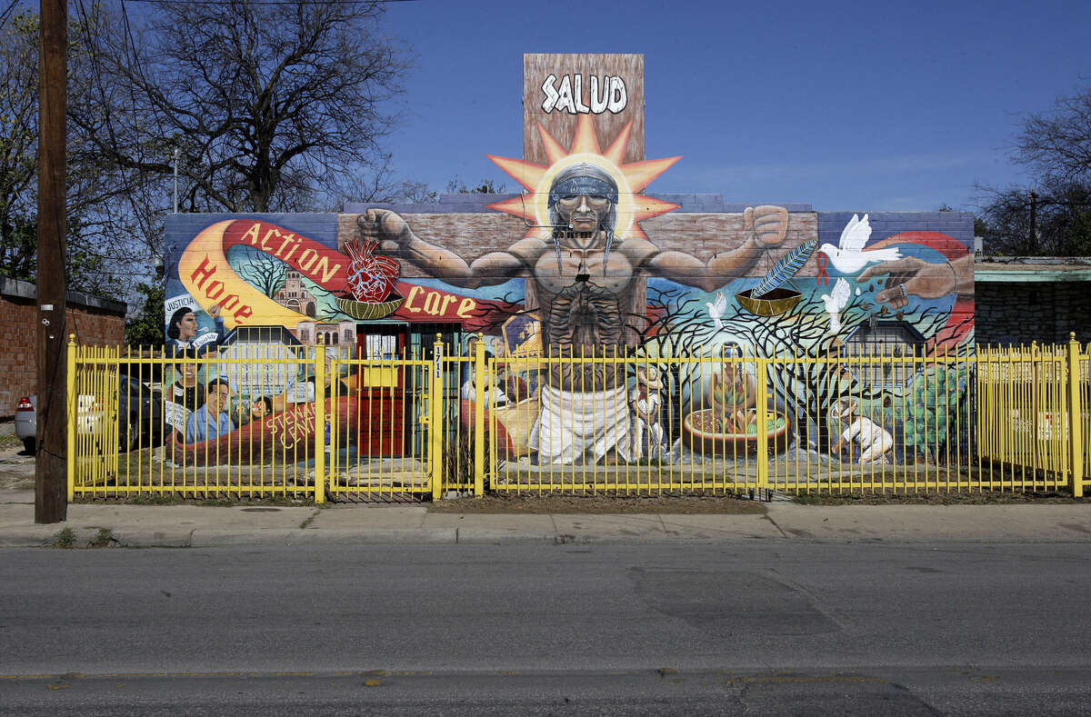 """BEFORE: """"Seeds of Solidarity,"""" located on a building at 1711 Guadalupe Street, featured a towering image of poet Raul R. Salinas and other significant figures from the Latino community, including labor leader Emma Tenayuca and activist Rosie Castro."""