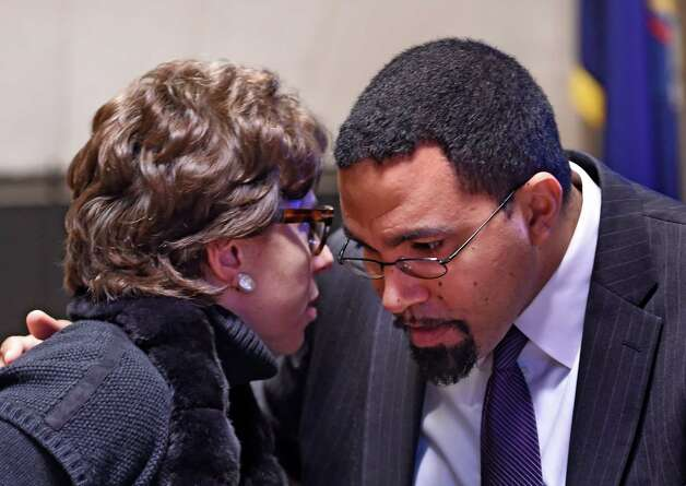 Regents Chancellor Merryl H. Tisch, left, speaks to Education Commissioner John B. King before a press conference announcing new options for students to meet the State's high school graduation requirements Monday afternoon, Oct. 20, 2014, during a press conference held at the Department of Education in Albany, N.Y. (Skip Dickstein/Times Union) Photo: SKIP DICKSTEIN / 00029097A