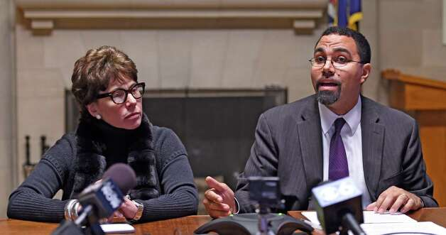 Regents Chancellor Merryl H. Tisch, left, listens as Education Commissioner John B. King announces new options for students to meet the State's high school graduation requirements Monday afternoon, Oct. 20, 2014, during a press conference held at the Department of Education in Albany, N.Y. (Skip Dickstein/Times Union) Photo: SKIP DICKSTEIN / 00029097A