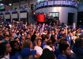 Royals fans gathered for a rally in the Power & Light District in downtown Kansas City on Monday.