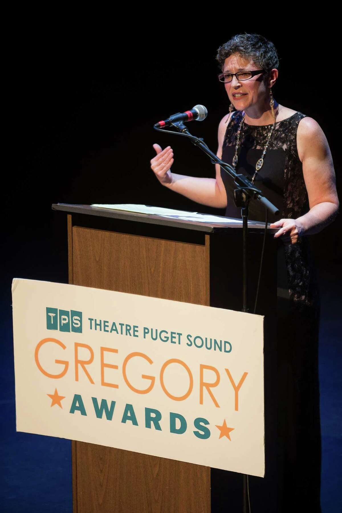 Executive Director Karen Lane at the Theatre Puget Sound's Sixth Annual Gregory Awards Monday, Oct. 20, 2014, at The Moore Theatre in Seattle. The Gregory Awards, which honors those dedicated to theater, has grown into a highly anticipated regional awards ceremony and a
