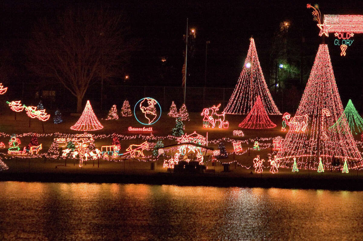 39. Marble Falls In this photo, more than two million lights decorate the shore of Lake Marble Falls for the Walkway of Lights during the holiday season.