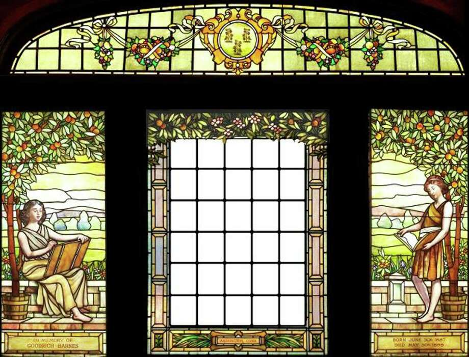The art of stained glass  Gunn Memorial Library in Washington will present a program about Markis TomascakâÄôs restoration of the libraryâÄôs intricately designed J & R Lamb Studios stained-glass window Nov. 2 at 1 p.m. Designed by Frederick Stymetz Lamb, the window was donated in 1908 to the newly built library by Richard Storrs Barnes. It was given in memory of BarnesâÄô late adolescent son, Goodrich Barnes. The window, above, was completely restored by Tomascak, owner of Dragonfly Studios in New Milford, in 2010. For more information, call the Wykeham Road library at 860-868-7756.  Courtesy of Gunn Memorial Library Photo: Contributed Photo / The News-Times Contributed