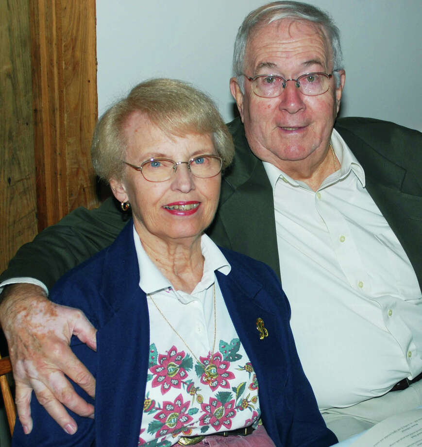 Former Kent residents Cliff and Bobbie Burnett traveled from Florida to attend New Milford High School Class of 1954âÄôs 60th reunion, Sept. 20, 2014, at Hopkins Inn in Warren. Photo: Deborah Rose / The News-Times
