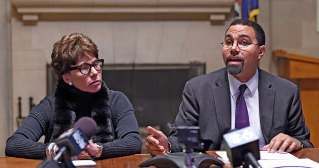 Regents Chancellor Merryl H. Tisch, left, listens as Education Commissioner John B. King announces new options for students to meet the State's high school graduation requirements Monday afternoon, Oct. 20, 2014, during a press conference held at the Department of Education in Albany, N.Y. (Skip Dickstein/Times Union) Photo: SKIP DICKSTEIN, ALBANY TIMES UNION / 00029097A