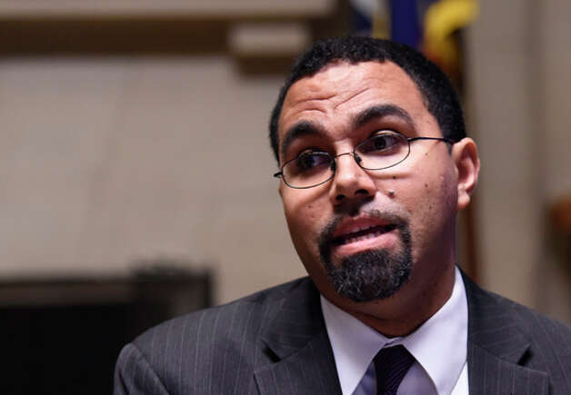 Education Commissioner John B. King announces new options for students to meet the State's high school graduation requirements Monday afternoon, Oct. 20, 2014, during a press conference held at the Department of Education in Albany, N.Y. (Skip Dickstein/Times Union) Photo: SKIP DICKSTEIN, ALBANY TIMES UNION / 00029097A