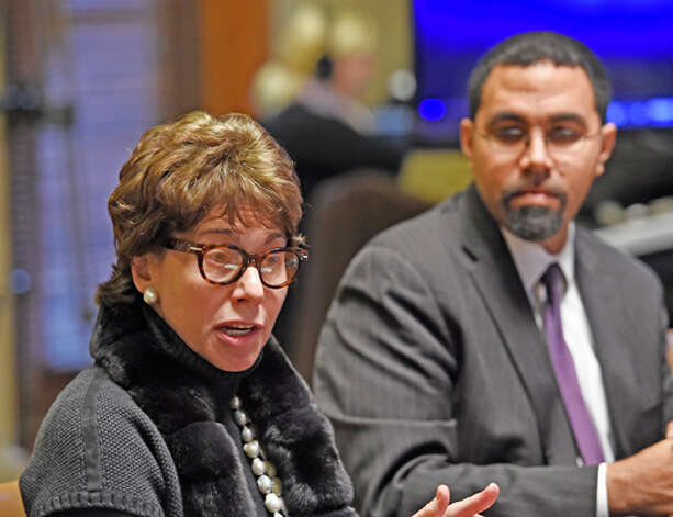 Regents Chancellor Merryl H. Tisch, speaks as Education Commissioner John B. King listens during the announcement of new options for students to meet the State's high school graduation requirements Monday afternoon, Oct. 20, 2014, during a press conference held at the Department of Education in Albany, N.Y. (Skip Dickstein/Times Union) Photo: SKIP DICKSTEIN, ALBANY TIMES UNION / 00029097A