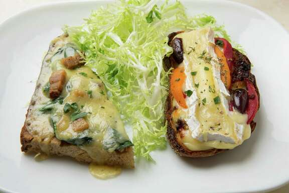 A popular choice at old-fashioned cafes and bistros in Paris is a hot open-faced tartine, or croque. To make at home, there's no obligation to stick with French cheeses, and for veggie toppings, anything goes.