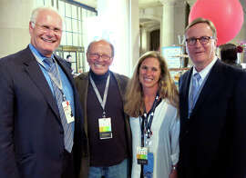 Mark Laret (left) with Dr. Bert Lubin, Suzanne DiBianca and Dr. Sam Hawgood.