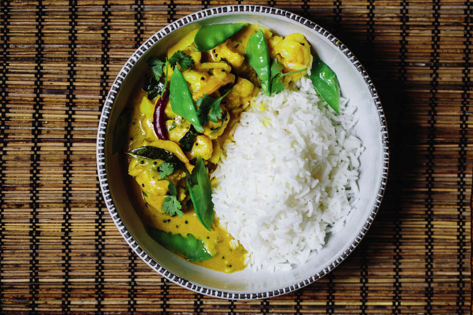 Campton Place chef Srijith Gopinathan's Shrimp & Cauliflower Korma. Photo: Stephen Lam / Special To The Chronicle / ONLINE_YES