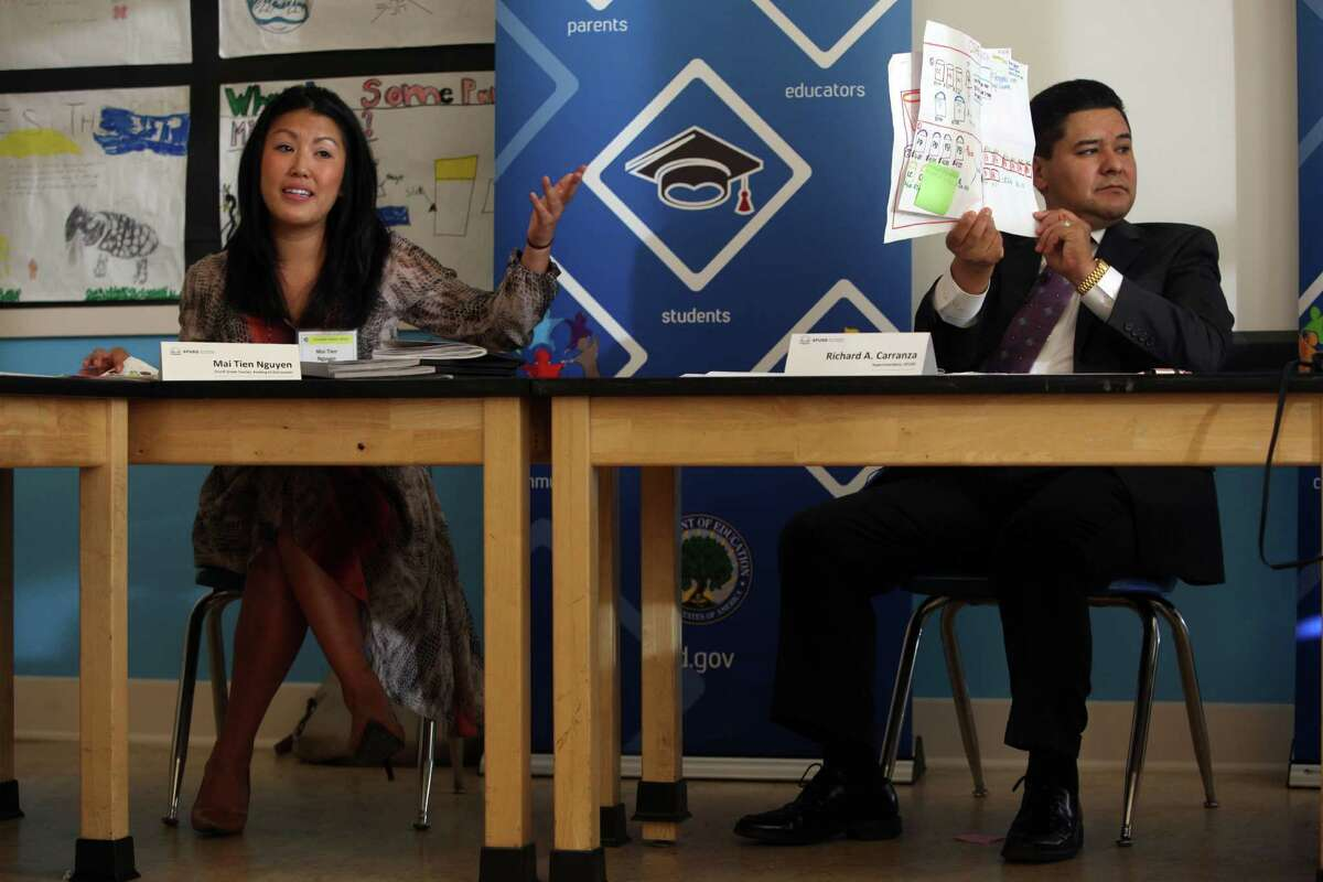 Fourth-grade teacher Mai Tien Nguyen talks about Common Core implementation, as San Francisco Unified School District Superintendent Richard Carranza holds up her diagrams for U.S. Secretary of Education Arne Duncan during a visit last year to Roosevelt Middle School.