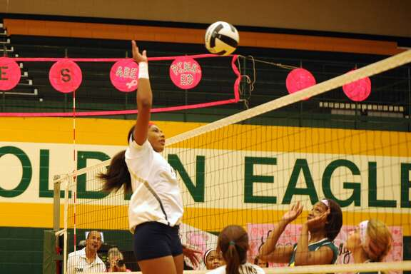 Klein Collins' Natayla Chatham scored a kill on this hit against Klein Forest earlier this season.