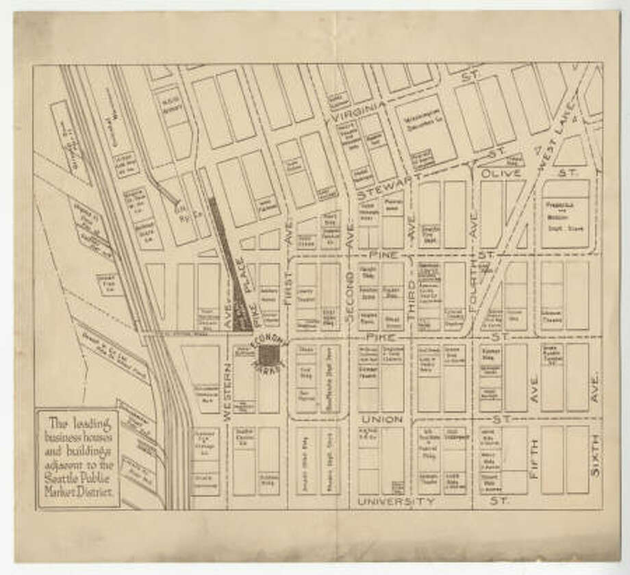 Map showing 'the leading business houses and buildings adjacent to the Seattle Public Market District.' Along with the Pike Place Market buildings, business such as Frederick and Nelson, the Bon Marche and the Coliseum Theatre are also listed. From between  1920 and 1929. spl_sh_00023 Photo: Courtesy Seattle Public Library, Pike Place Market Digital Collection