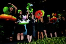 The Ladies of Nerd Wallet take part in the TNDC Celebrity Pool Toss at Phoenix Hotel in San Francisco, Calif. on Wednesday, October 8, 2014. The Ladies of Nerd Wallet are Flo Thinh, Vickie Chiang, Stephanie Wei, Shiyan Koh, Maggie Leung, Jelena Ewart and Katrina Chan. (NOT IN ORDER)