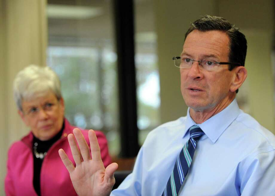 Lt. Gov. Nancy Wyman and Gov. Dannel P. Malloy meets with the Hearst Connecticut Media editorial board on Monday, Oct. 20, 2014 in Bridgeport, Conn. Photo: Cathy Zuraw / Connecticut Post