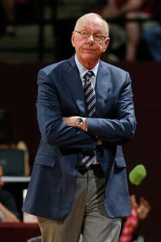 FILE - In this March 9, 2014, file photo, Syracuse head coach Jim Boeheim reacts in the second half of an NCAA college basketball game against Florida State in Tallahassee, Fla. New York's highest court on Tuesday, Oct. 21, 2014,  reinstated the slander lawsuit filed by two former Syracuse University ball boys against basketball head coach Jim Boeheim.  Bobby Davis and Mike Lang say Boeheim slandered them in 2011 by calling them liars out for money when they accused his longtime assistant coach Bernie Fine of molesting them as children. (AP Photo/Phil Sears, File) ORG XMIT: NY163 Photo: Phil Sears / FR170567 AP