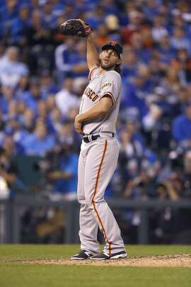 Giants Madison Bumgarner takes the mound in the fourth inning during Game1 of the World Series at Kauffman Stadium on Tuesday, Oct. 21, 2014 in Kansas City, Mo.