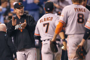 A 7-1 win in Game 1 of the World Series lifted manager Bruce Bochy's record in the postseason with the Giants to a mind-boggling 31-11. He went 8-16 over four postseasons in San Diego.
