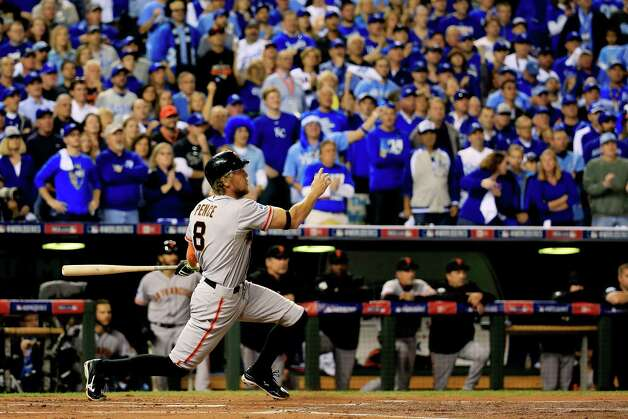 KANSAS CITY, MO - OCTOBER 21:  Hunter Pence #8 of the San Francisco Giants hits a two run home run in the first inning against the Kansas City Royals during Game One of the 2014 World Series at Kauffman Stadium on October 21, 2014 in Kansas City, Missouri.  (Photo by Rob Carr/Getty Images) Photo: Rob Carr / 2014 Getty Images