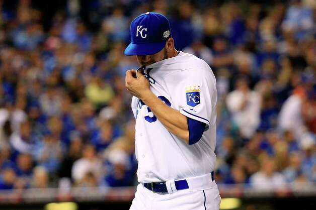 KANSAS CITY, MO - OCTOBER 21:  James Shields #33 of the Kansas City Royals walks off the field after getting pulled in the fourth inning against the San Francisco Giants during Game One of the 2014 World Series at Kauffman Stadium on October 21, 2014 in Kansas City, Missouri.  (Photo by Rob Carr/Getty Images) Photo: Rob Carr / 2014 Getty Images