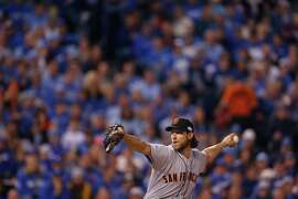 Madison Bumgarner pitches during Game1 of the World Series at Kauffman Stadium on Tuesday, Oct. 21, 2014 in Kansas City, Mo.