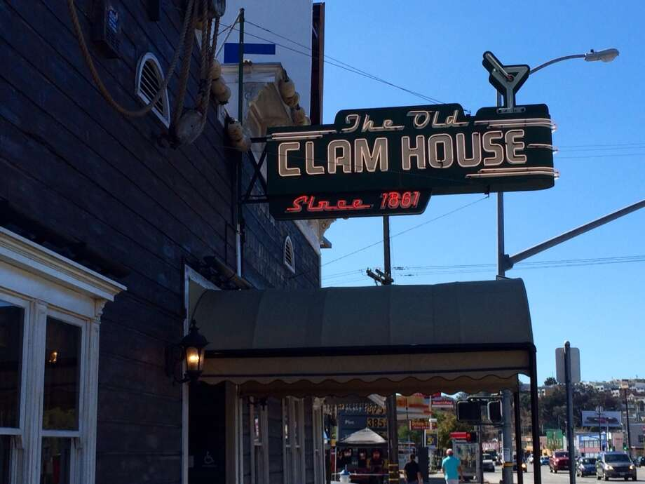 The sign outside the Old Clam House on Bayshore advertises its 1861 beginnings.
