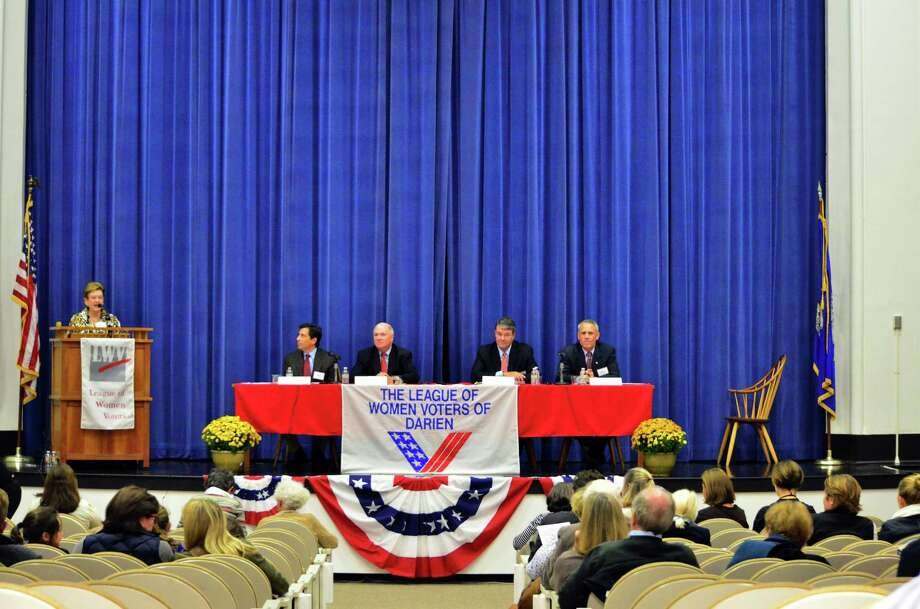 The Board of Education candidates fielded questions regarding the district during Tuesday's League of Women Voters Meet the Candidates night in the Darien Town Hall auditorium. Photo: Megan Spicer / Darien News